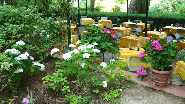 Terracotta pots around the dinner terrace at Villa le Barone