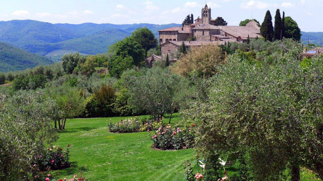 View on the Chianti hills from Villa le Barone