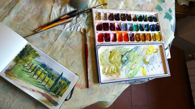 Practicing watercolor in Chianti , Tuscany