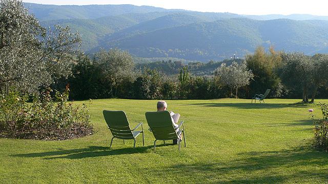 Contemplating and reading  in Chianti at Villa le Barone