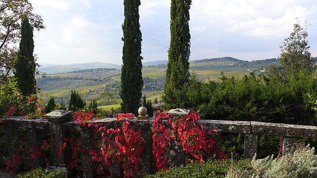 View from the Heart Terrace Villa le Barone Chianti