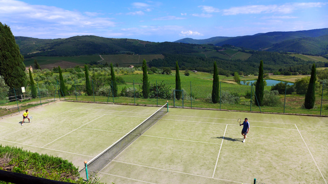 Tennis with a view on Chianti hills  at Villa le Barone Tuscany